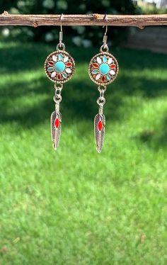Southwest Medallion Earrings Western Feather Dangle Boho Statement Jewelry