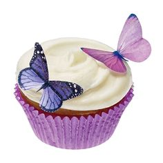 Brides.com: Wedding Color Scheme: Purple and Silver. Sugar butterfly cupcake toppers, $9.50 for 24, Incredibletoppers available on Etsy