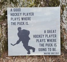 Good/Great Hockey Player wood sign