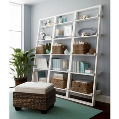 "Set of 3 Sloane White 25.5"" Leaning Bookcases in Bookcases, Cabinets 