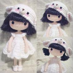 Crochet amigurumi girl doll in a pretty dress and bear hat. (Inspiration).