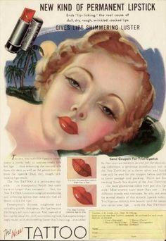 Tattoo lipstick advertising 1930 - the new permanent lipstick