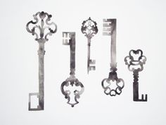 Skeleton Keys Collection  Original Watercolor by GeometricInk