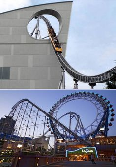 Thunder Dolphin | This coaster in Tokyo Dome City Attractions park in Japan, goes through a hole in a building and through the center of a Ferris Wheel! #MotionEaze #RollerCoaster
