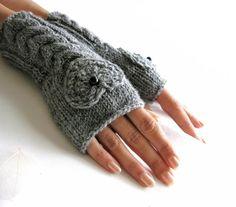 Gray Fingerless Gloves