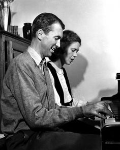 Jimmy Stewart plays a tune with his sister Virgina, 1945