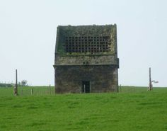 Ruined doocot at Newbigging near Aberdour, Scotland, revealing the nesting boxes