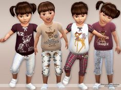 The Sims Resource: Bambi Pyjama Set for Toddlers by Pinkzombiecupcake • Sims 4 Downloads