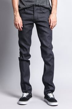 Our skinniest fit, perfect for the guy who's on top of his style game. Choose a darker wash to dress up your look, or go casual with a pop of color. Whichever way you choose to wear it, you can't go wrong.- Brand: Victorious- 90% Cotton, 7% Polyester, 3% Spandex- Added stretch for maximum comfort- Sits below waist, extra slim through thigh, narrow leg opening- Classic five-pocket styling- Zipper fly, button closure- Machine-wash cold inside-out with like colors, line dry- Imported, Designed in L Raw Denim, Denim Jeans, Black Jeans, Skinny Fit, Color Pop, Thighs, Victorious, Guy, Casual