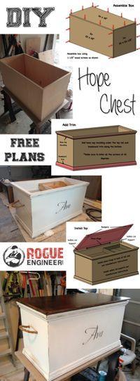Free Hope Chest Plans | http://rogueengineer.com #DIYFurniturePlans #PersonalizedHopeChest