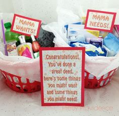 New Mom Gift Idea with Free Printables from www.prettyprovidence.com! One basket for things mom might want and one for things she might need!