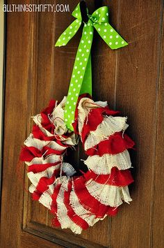 Cute wreath idea! Would also be cute in plain burlap, and you could change out the ribbon for the season.