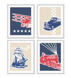 Children's Wall Art, Boys Toddler Bedroom, Train, Car, Boat, Plane, Boys Nursery, Boys Transportation Decor