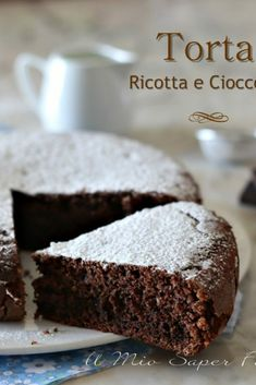 Soft cake with dark ricotta chocolate Easy Cake Recipes, Apple Recipes, Sweet Recipes, Dessert Recipes, Ricotta, German Torte Recipe, Strawberry Torte Recipe, Chocolate Torte, Healthy Cake