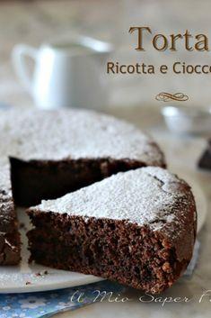 Soft cake with dark ricotta chocolate Easy Cake Recipes, Apple Recipes, Sweet Recipes, Chocolate Torte, Chocolate Recipes, German Torte Recipe, Strawberry Torte Recipe, Healthy Cake, Savoury Cake