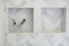 white Scandinavian herringbone tile Ceramic Tile Bathrooms, Herringbone Tile, Tile Projects, Handmade Tiles, Mosaic Tiles, Scandinavian, Farmhouse, Ceramics, Inspiration