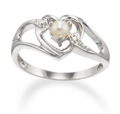 June Birthstone Heart Pearl Promise Ring with Diamond Accents in 14k Gold - June Birthstone Heart Ring