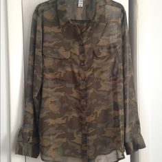 Old Navy camo top Old Navy chiffon style button up sheer top. Camo print. Never…