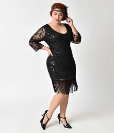 Great Gatsby Dress – Great Gatsby Dresses for Sale Unique Vintage Plus Size Black Beaded Sequin Margaux Sleeved Fringe Flapper Dress at vintagedancer Gatsby Dress For Sale, Great Gatsby Dresses, 1920s Dress, Unique Dresses, Dresses For Sale, 1920s Inspired Dresses, Vintage Inspired, Plus Size Flapper Dress, Beaded Flapper Dress
