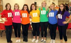 5 Easy Ways to Dress Up as Your Favorite Halloween Candy | http://www.hercampus.com/style/5-easy-ways-dress-your-favorite-halloween-candy | DIY M&M's Group Costume