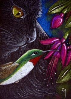 Cyra R. Cancel - BLACK CAT - HUMMINGBIRD - FUCHSIA FLOWERS - Pencil