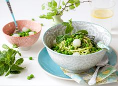 Sweet peas & pearl onions pesto smothered zucchini noodles - from My New Roots