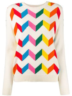 Cream wool chevron stripe jumper from Chinti and Parker featuring a round neck, long sleeves and a ribbed hem and cuffs. Preppy Trends, Ski Gear, Rosy Pink, Size Clothing, Chevron, Jumper, Cashmere, Neutral, Women Wear