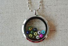Medaillonketten - Medaillonkette Glas Edelstahl Perlen bunt - ein Designerstück von Bead-it-Cologne bei DaWanda