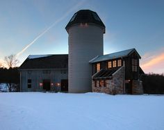 Gym Building Design in the Classy Home Ideas : Awesome BarnHouse Addition Exterior View With Cylinder Design
