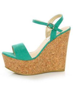 Bonnibel Hot 1 Sea Green Cork Wedge Sandals 33.00 #lovelulus