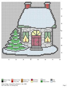 WINTER VILLAGE HOUSE #2 by WANDA K. -- WALL HANGING