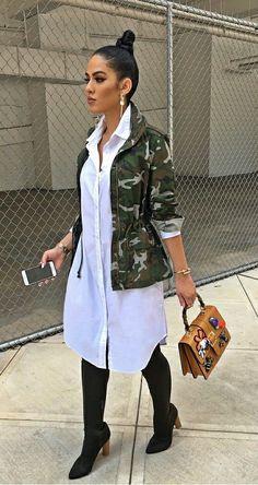 Kim likes the shirt dress - Camo jacket, white shirt dress, OTK boots, top handle handbag. Camo Fashion, Look Fashion, Fashion Outfits, Womens Fashion, Camo Outfits, Mode Outfits, Casual Outfits, Red Skirt Outfits, Xl Mode