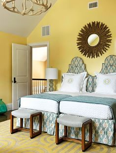 Twin Beds - upholstered headboard and matching skirt