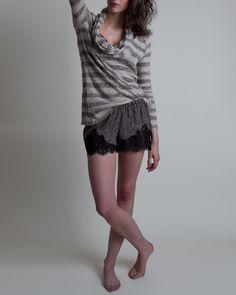 Soft Joie Tamika Cotton Slub Stripe Long Sleeve Cowl Tee