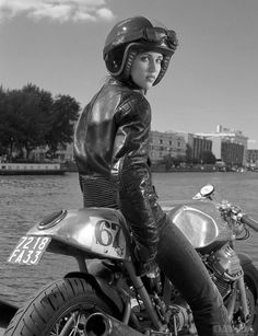 Cafe Racer Girl. Davida Helmet, custom Moto Guzzi bike