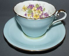 Aynsley Bone China Cup and Saucer England Hand Painted Violets Vintage #Aynsley