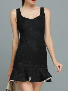 Shop Black Sleeveless Bodycon Dress with Ruffle Hem and V Back from choies.com .Free shipping Worldwide.$61.99