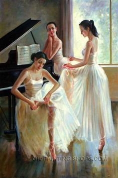 """Gallery Stretched Art Reproduction Oil Ballet Girl, Size: 24"""" x 36"""", $141. Url: http://www.oilpaintingshops.com/gallery-stretched-art-reproduction-oil-ballet-girl-1005.html"""