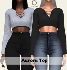 Clothing: Aurora top from LumySims • Sims 4 Downloads