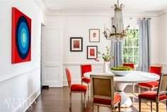 Lee Kleinhelter of incorporated pops of red-orange into the dining room of this home through velvet-upholstered… Dutch Colonial Homes, Antique Dining Chairs, Interior And Exterior, Interior Design, Interior Ideas, Atlanta Homes, Color Stories, Colorful Interiors, Family Room