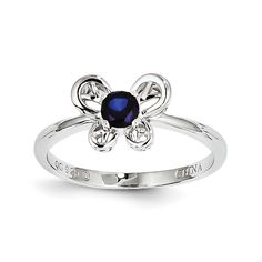 Sterling Silver Created Sapphire Ring SKU: QGQBR24SEP-7 $21.99