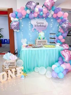 mermaid birthday party ideas - Once Upon a Fairy Tale - Designer Tutu Birthday Outfits for Girls - Birthday Party Diy Mermaid Birthday Party, Little Mermaid Birthday, 6th Birthday Parties, 20th Birthday, Mermaid Themed Party, Kids Birthday Themes, Little Mermaid Parties, Birthday Crafts, Baby Birthday