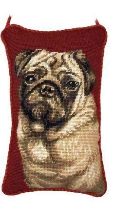 Fawn Pug Dog Portrait 100% Wool Needlepoint Doorknob Hanging Pillow   www.aloveofdogs.com