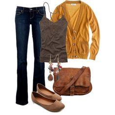 Burnt orange cardigan, brown cami, darks wash skinny jeans, brown flat shoes, brown sling bag