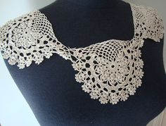 Vintage Ecru Color Cotton Crochet Collar Crochet by fabricdepo