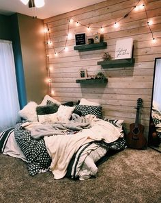dream rooms for adults ; dream rooms for women ; dream rooms for couples ; dream rooms for adults bedrooms ; dream rooms for girls teenagers Comfy Bedroom, Bedroom Inspo, Dream Bedroom, Bedroom Themes, Diy Bedroom, Wooden Wall Bedroom, Warm Cozy Bedroom, Trendy Bedroom, Chalkboard Wall Bedroom