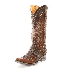 not sure about all the decals on the boots.  Old Gringo Brass Raelene Cowgirl Boots
