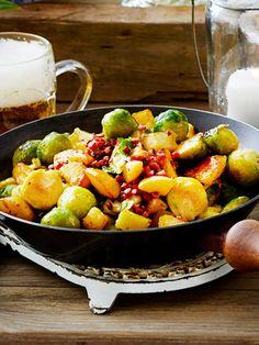 Diese Pfanne mit #Rosenkohl hat weniger als 250 Kalorien pro Portion! #gesund #abnehmen