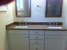 White vanity set in Adams door style in Lexington by Oceanside Cabinets