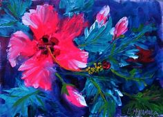 Daily Painting 1410 Hibiscus Glow Abstract Expressionism, original painting by artist Lori McNamara | DailyPainters.com